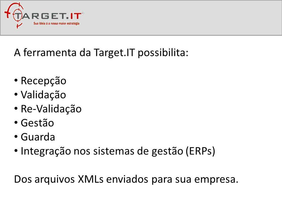 A ferramenta da Target.IT possibilita: Recepção Validação Re-Validação Gestão Guarda Integração nos sistemas de gestão (ERPs) Dos arquivos XMLs enviad
