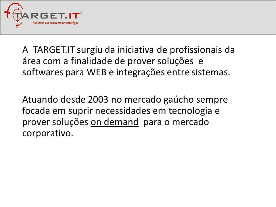 A TARGET.IT surgiu da iniciativa de profissionais da área com a finalidade de prover soluções e softwares para WEB e integrações entre sistemas. Atuan