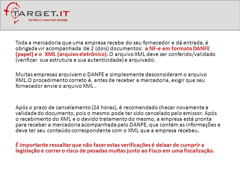 Toda a mercadoria que uma empresa recebe do seu fornecedor e dá entrada, é obrigada vir acompanhada de 2 (dois) documentos: a NF-e em formato DANFE (p