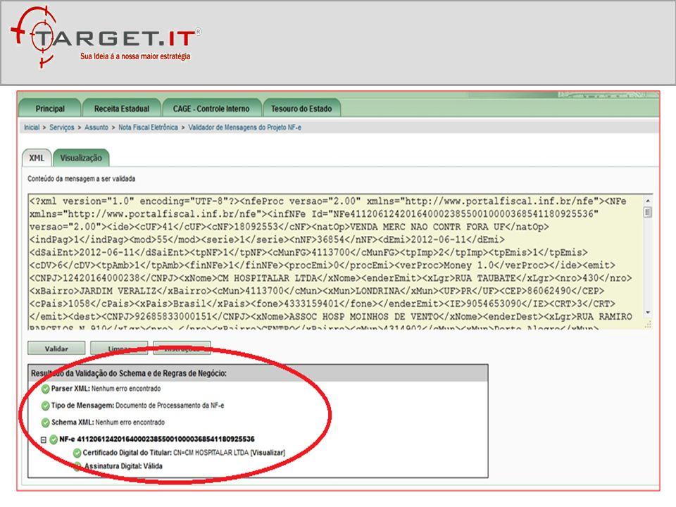 A ferramenta da Target.IT possibilita: Recepção Validação Re-Validação Gestão Guarda Integração nos sistemas de gestão (ERPs) Dos arquivos XMLs enviados para sua empresa.