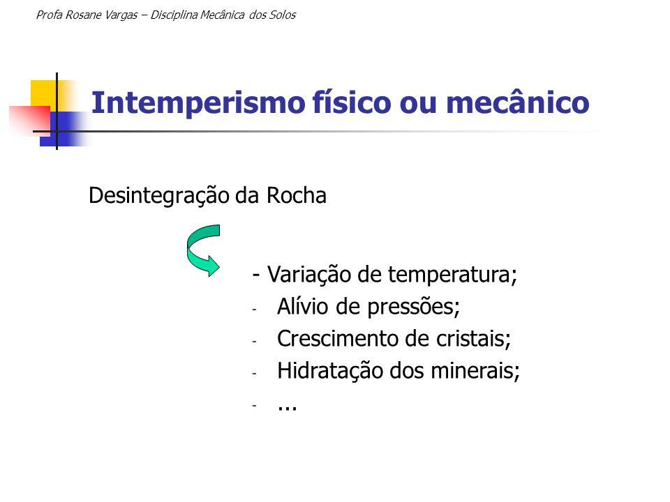 Intemperismo físico ou mecânico Profa Rosane Vargas – Disciplina Mecânica dos Solos Desintegração da Rocha - Sedimentos de variados tamanhos; - Mantém-se a mesma composição mineralógica.