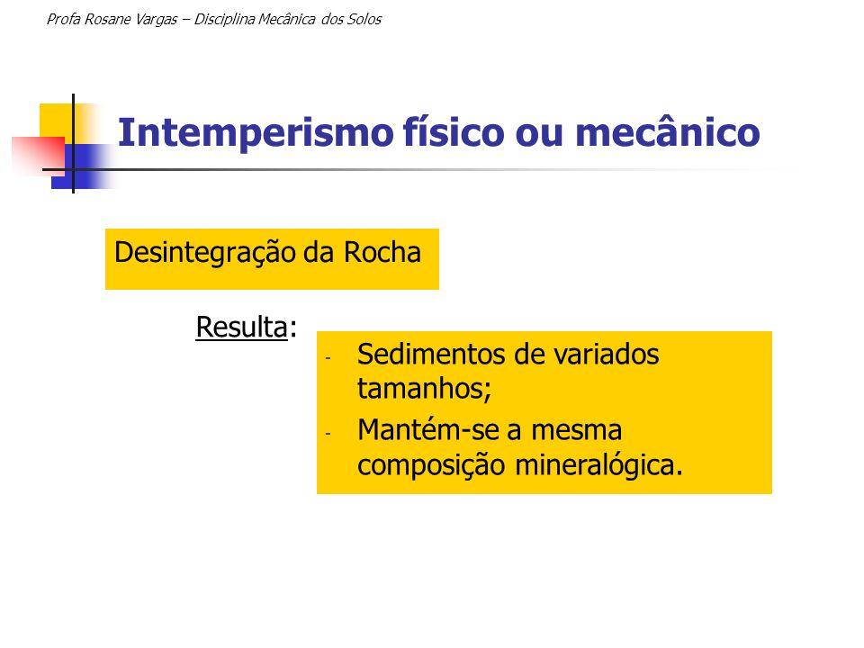 Intemperismo físico ou mecânico Profa Rosane Vargas – Disciplina Mecânica dos Solos Desintegração da Rocha - Sedimentos de variados tamanhos; - Mantém