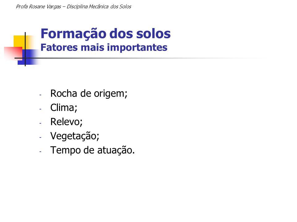 Formação dos solos Fatores mais importantes Profa Rosane Vargas – Disciplina Mecânica dos Solos - Rocha de origem; - Clima; - Relevo; - Vegetação; - T