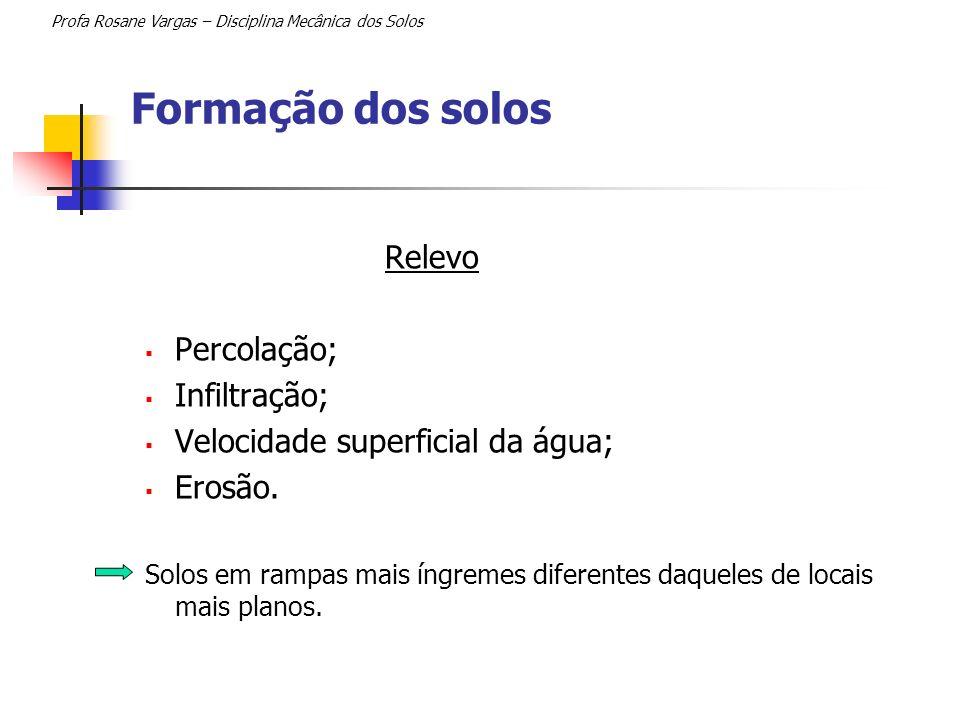 Formação dos solos Profa Rosane Vargas – Disciplina Mecânica dos Solos Relevo Percolação; Infiltração; Velocidade superficial da água; Erosão. Solos e