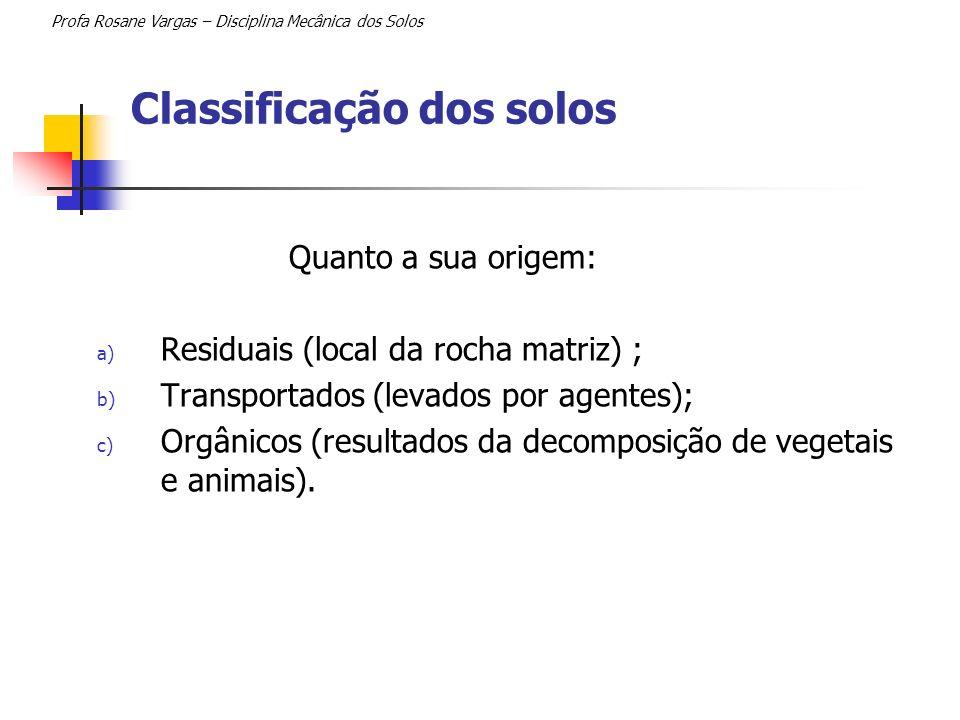 Classificação dos solos Profa Rosane Vargas – Disciplina Mecânica dos Solos Quanto a sua origem: a) Residuais (local da rocha matriz) ; b) Transportad