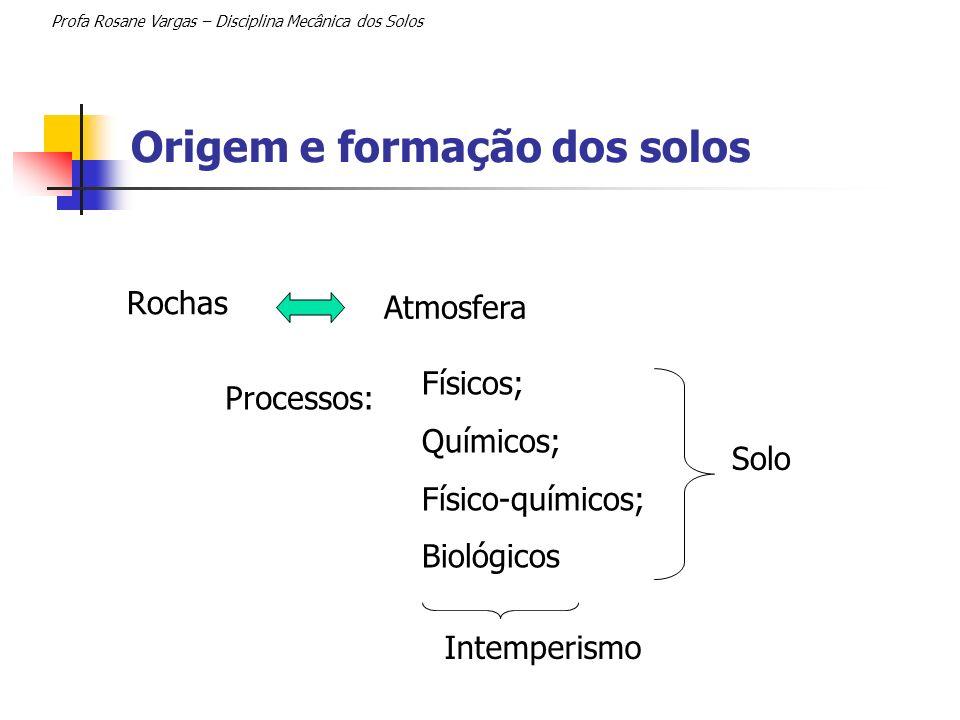 Origem e formação dos solos Rochas Profa Rosane Vargas – Disciplina Mecânica dos Solos Atmosfera Processos: Físicos; Químicos; Físico-químicos; Biológ