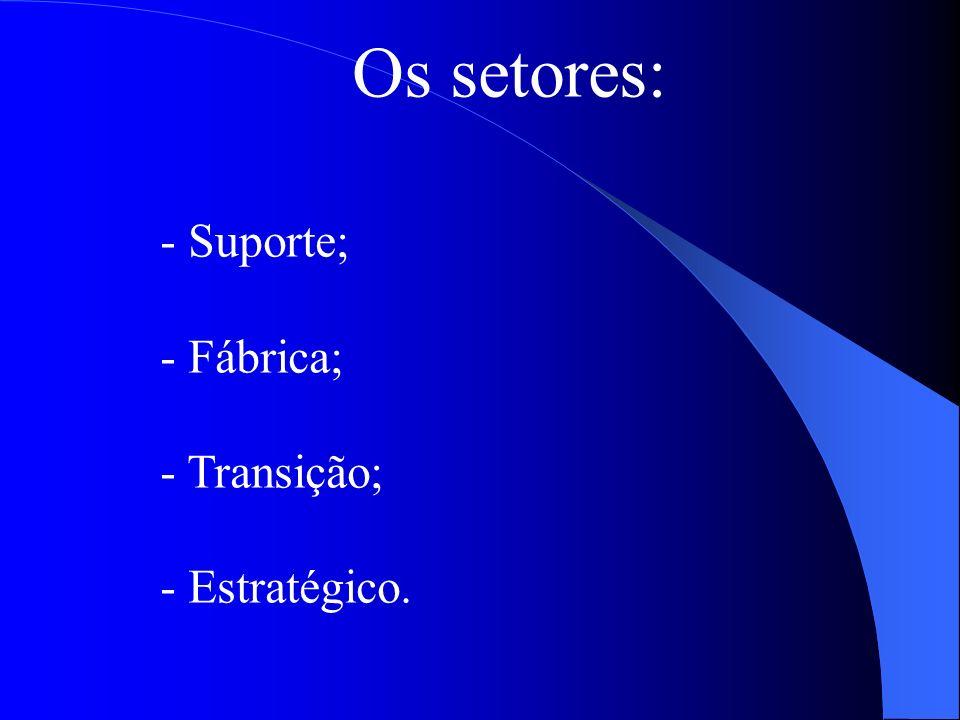 Os setores: - Suporte; - Fábrica; - Transição; - Estratégico.
