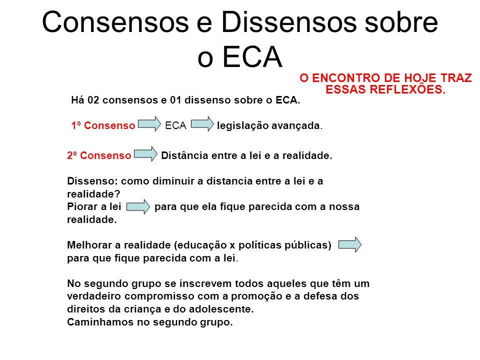 Consensos e Dissensos sobre o ECA Há 02 consensos e 01 dissenso sobre o ECA. 1º Consenso ECA legislação avançada. O ENCONTRO DE HOJE TRAZ ESSAS REFLEX