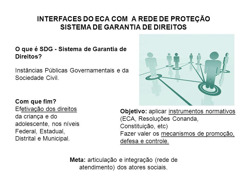INTERFACES DO ECA COM A REDE DE PROTEÇÃO SISTEMA DE GARANTIA DE DIREITOS O que é SDG - Sistema de Garantia de Direitos? Instâncias Públicas Governamen