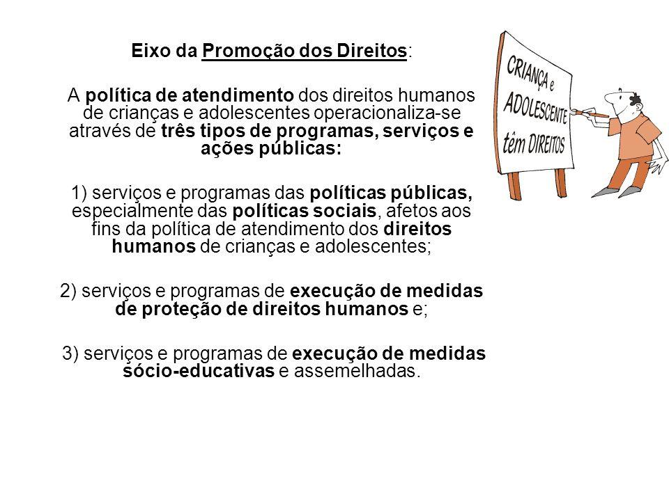 Eixo da Promoção dos Direitos: A política de atendimento dos direitos humanos de crianças e adolescentes operacionaliza-se através de três tipos de pr