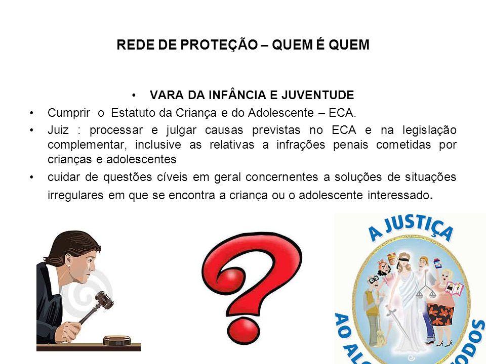 REDE DE PROTEÇÃO – QUEM É QUEM VARA DA INFÂNCIA E JUVENTUDE Cumprir o Estatuto da Criança e do Adolescente – ECA. Juiz : processar e julgar causas pre