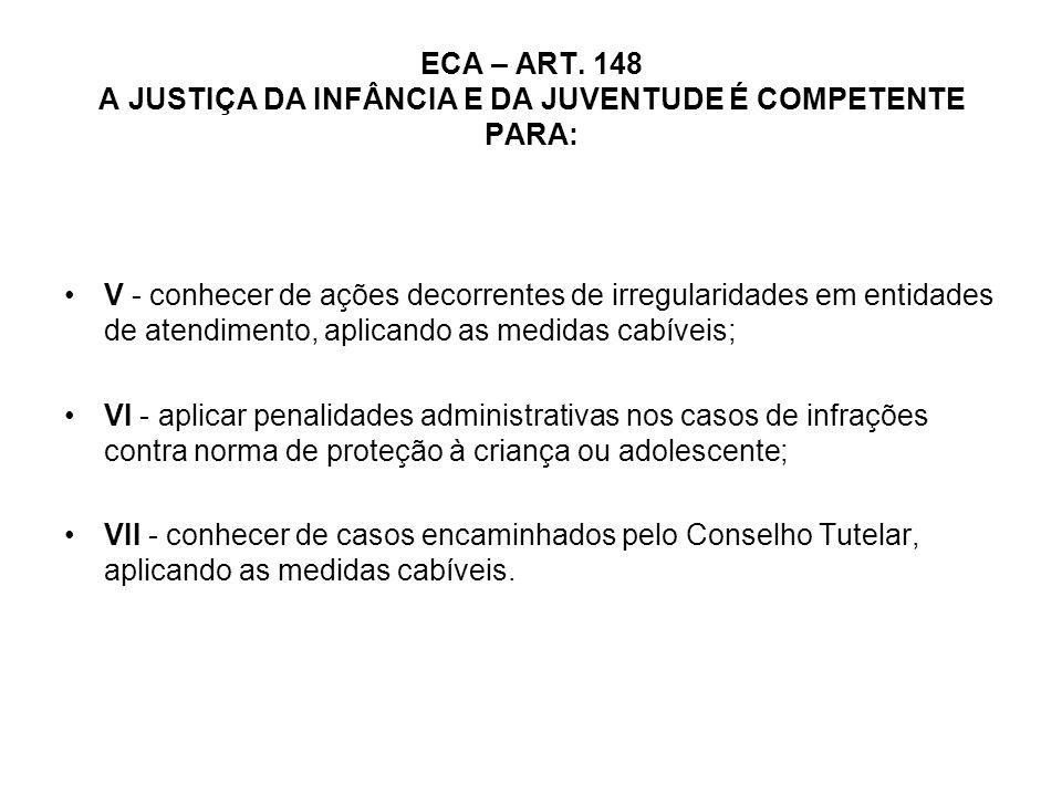 ECA – ART. 148 A JUSTIÇA DA INFÂNCIA E DA JUVENTUDE É COMPETENTE PARA: V - conhecer de ações decorrentes de irregularidades em entidades de atendiment
