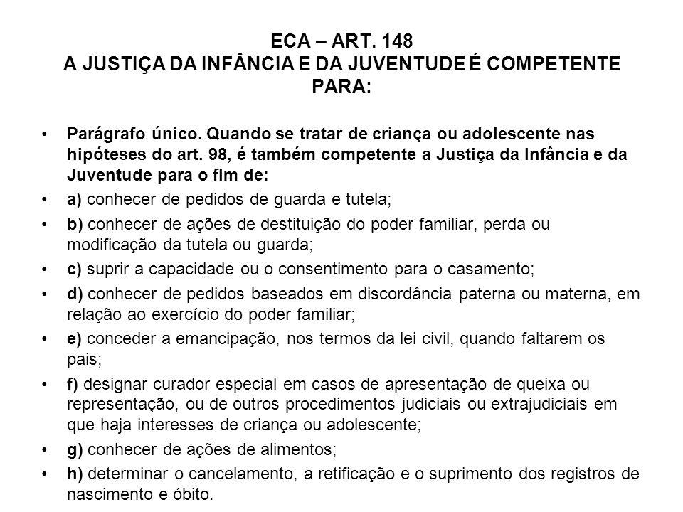 ECA – ART. 148 A JUSTIÇA DA INFÂNCIA E DA JUVENTUDE É COMPETENTE PARA: Parágrafo único. Quando se tratar de criança ou adolescente nas hipóteses do ar
