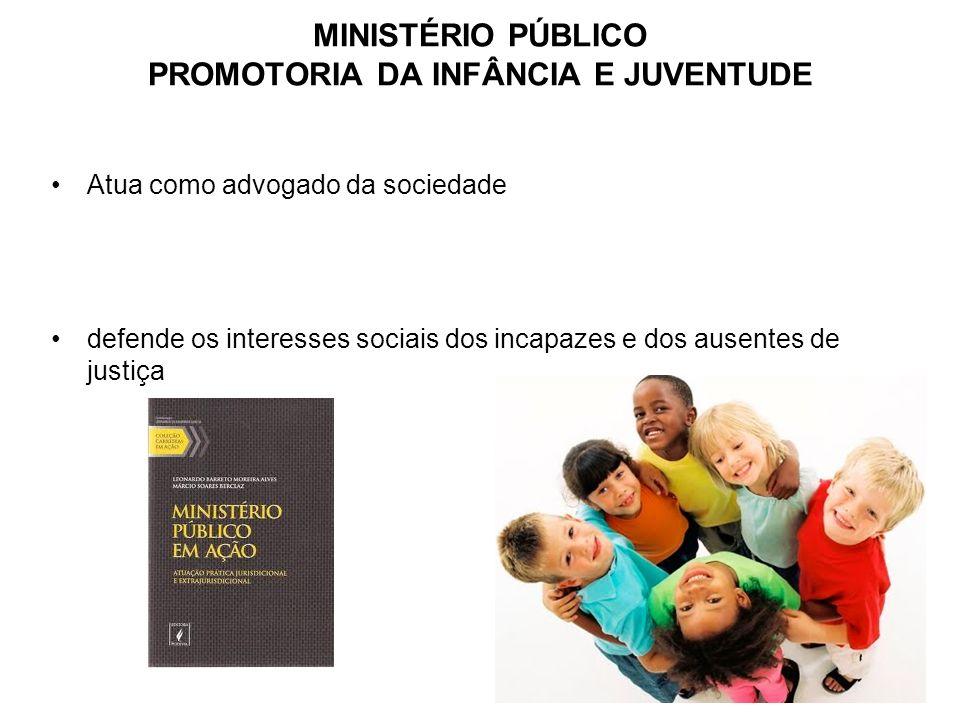 MINISTÉRIO PÚBLICO PROMOTORIA DA INFÂNCIA E JUVENTUDE Atua como advogado da sociedade defende os interesses sociais dos incapazes e dos ausentes de ju