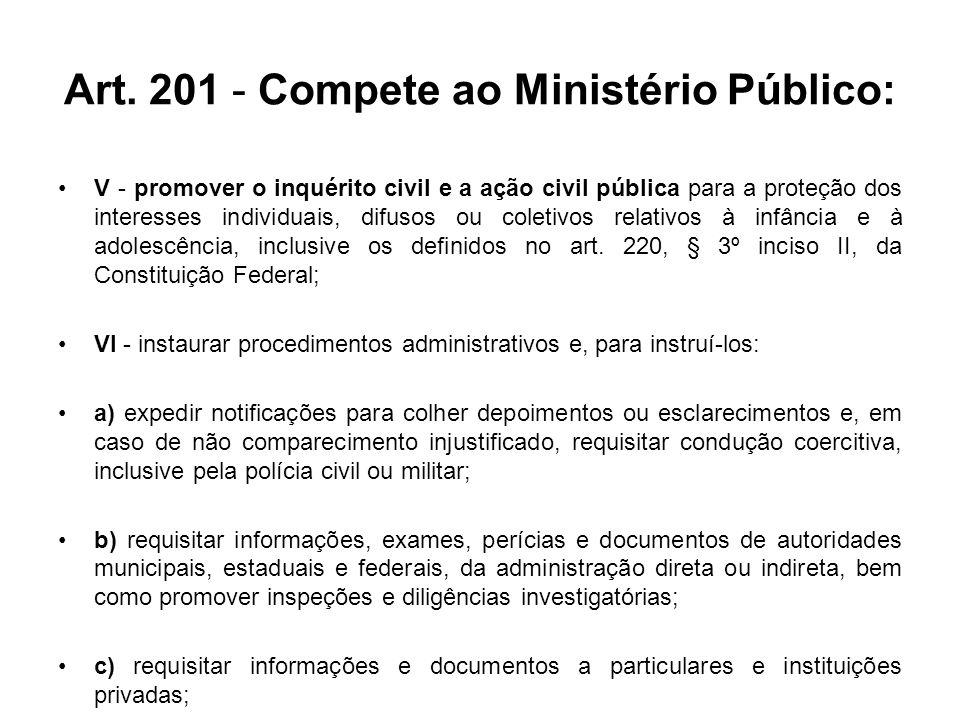 Art. 201 - Compete ao Ministério Público: V - promover o inquérito civil e a ação civil pública para a proteção dos interesses individuais, difusos ou