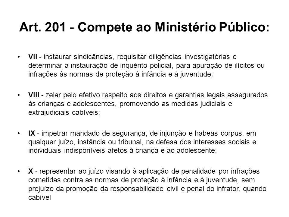 Art. 201 - Compete ao Ministério Público: VII - instaurar sindicâncias, requisitar diligências investigatórias e determinar a instauração de inquérito