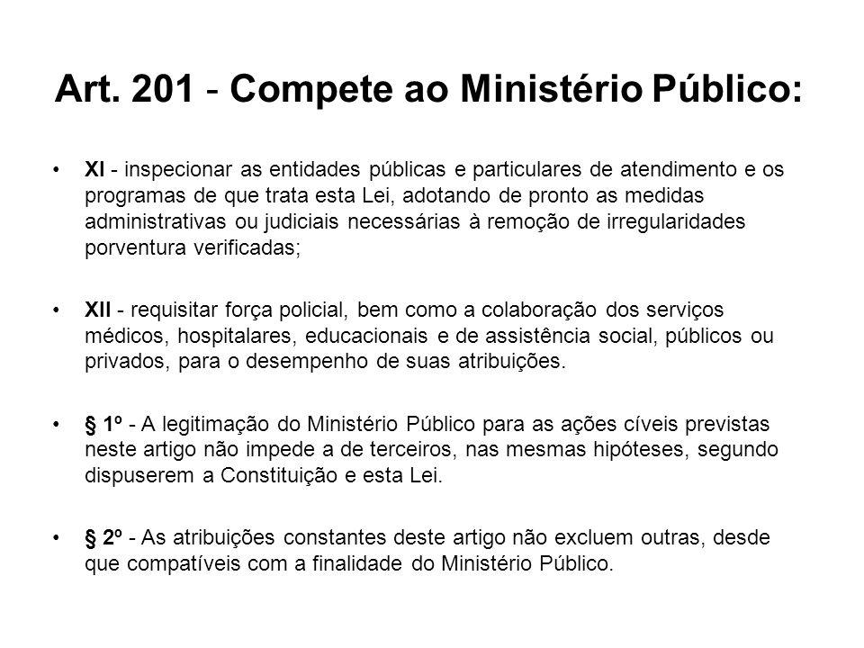 Art. 201 - Compete ao Ministério Público: XI - inspecionar as entidades públicas e particulares de atendimento e os programas de que trata esta Lei, a