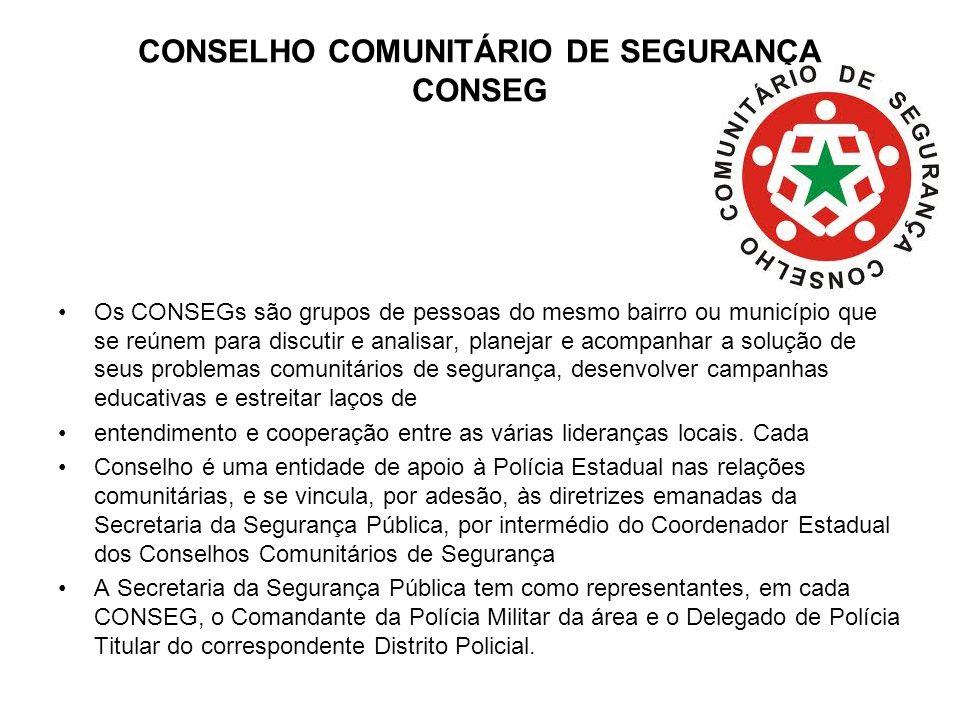 CONSELHO COMUNITÁRIO DE SEGURANÇA CONSEG Os CONSEGs são grupos de pessoas do mesmo bairro ou município que se reúnem para discutir e analisar, planeja