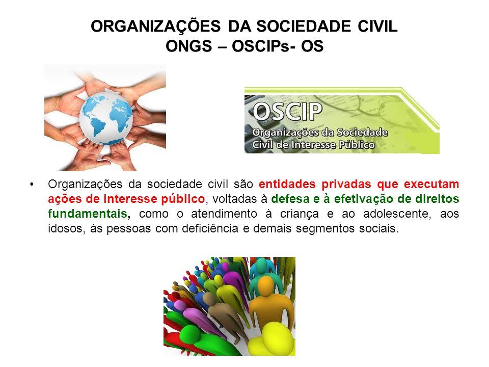 ORGANIZAÇÕES DA SOCIEDADE CIVIL ONGS – OSCIPs- OS Organizações da sociedade civil são entidades privadas que executam ações de interesse público, volt