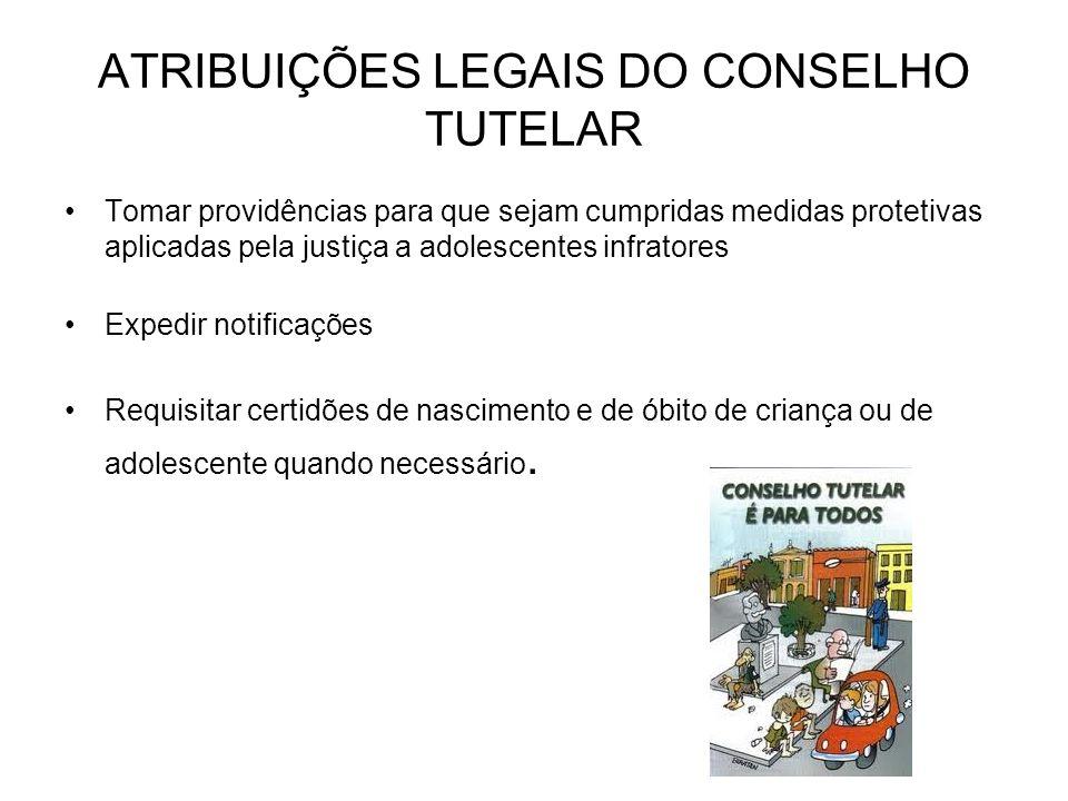 ATRIBUIÇÕES LEGAIS DO CONSELHO TUTELAR Tomar providências para que sejam cumpridas medidas protetivas aplicadas pela justiça a adolescentes infratores