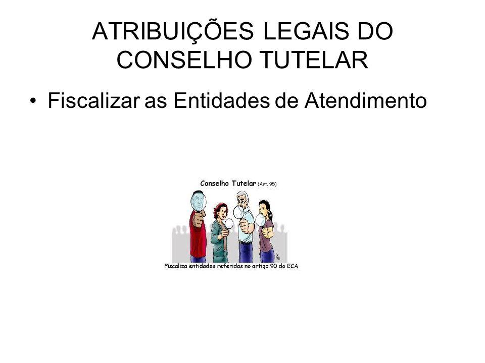 ATRIBUIÇÕES LEGAIS DO CONSELHO TUTELAR Fiscalizar as Entidades de Atendimento