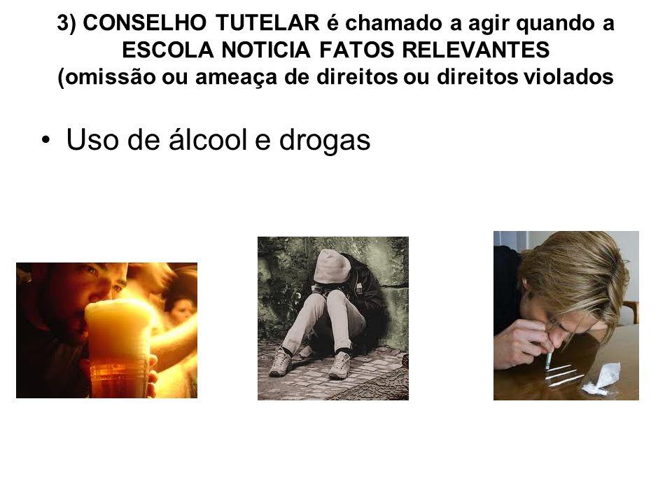 3) CONSELHO TUTELAR é chamado a agir quando a ESCOLA NOTICIA FATOS RELEVANTES (omissão ou ameaça de direitos ou direitos violados Uso de álcool e drog