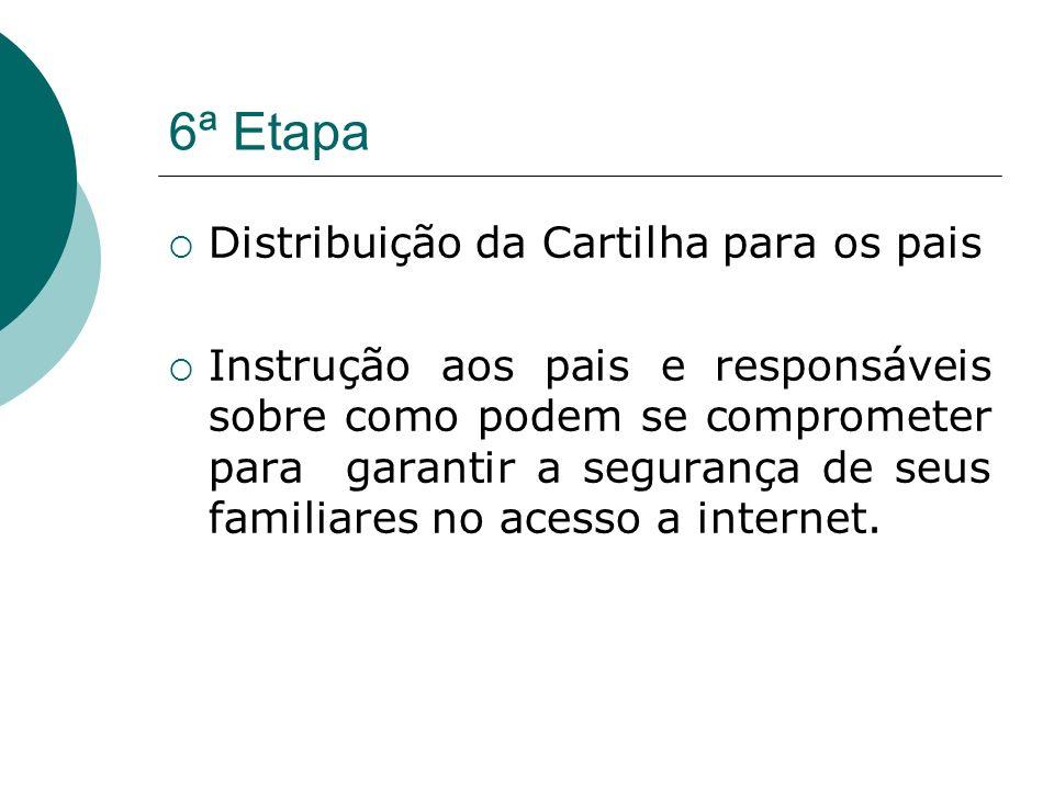 6ª Etapa Distribuição da Cartilha para os pais Instrução aos pais e responsáveis sobre como podem se comprometer para garantir a segurança de seus fam