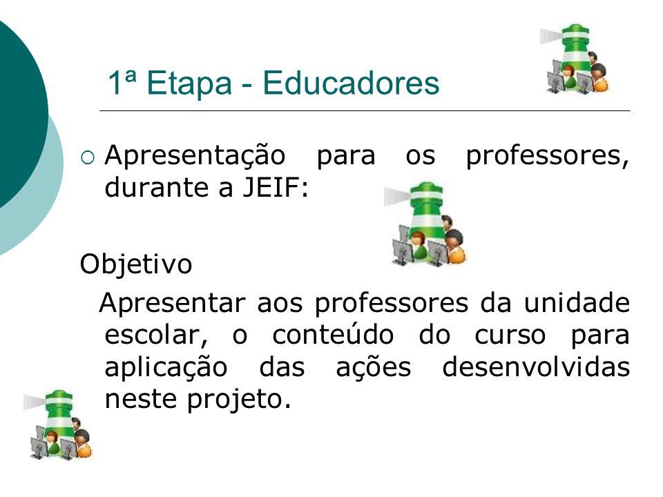 1ª Etapa - Educadores Apresentação para os professores, durante a JEIF: Objetivo Apresentar aos professores da unidade escolar, o conteúdo do curso pa