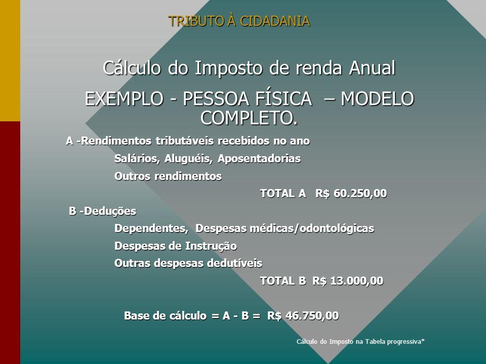 TRIBUTO À CIDADANIA Cálculo do Imposto de renda Anual EXEMPLO - PESSOA FÍSICA – MODELO COMPLETO. A -Rendimentos tributáveis recebidos no ano Salários,