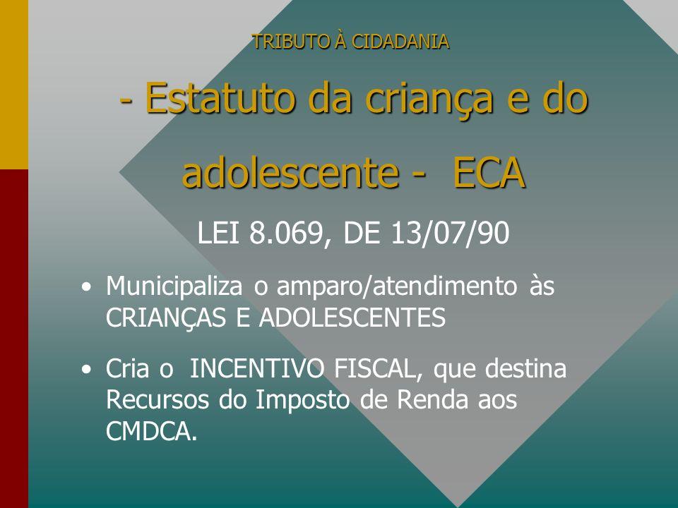 TRIBUTO À CIDADANIA Municipaliza o amparo/atendimento às CRIANÇAS E ADOLESCENTES Cria o INCENTIVO FISCAL, que destina Recursos do Imposto de Renda aos