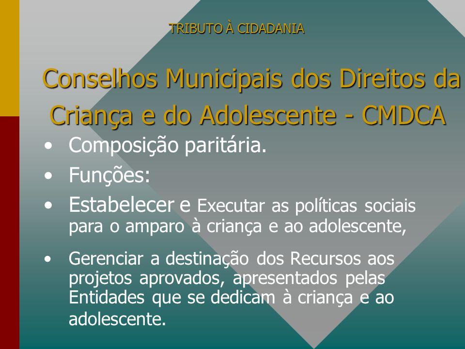 TRIBUTO À CIDADANIA Prefeitura Municipal, Estado ou União Ministério Público - Controle Secretaria da Receita Federal - Informe anual – DBF.