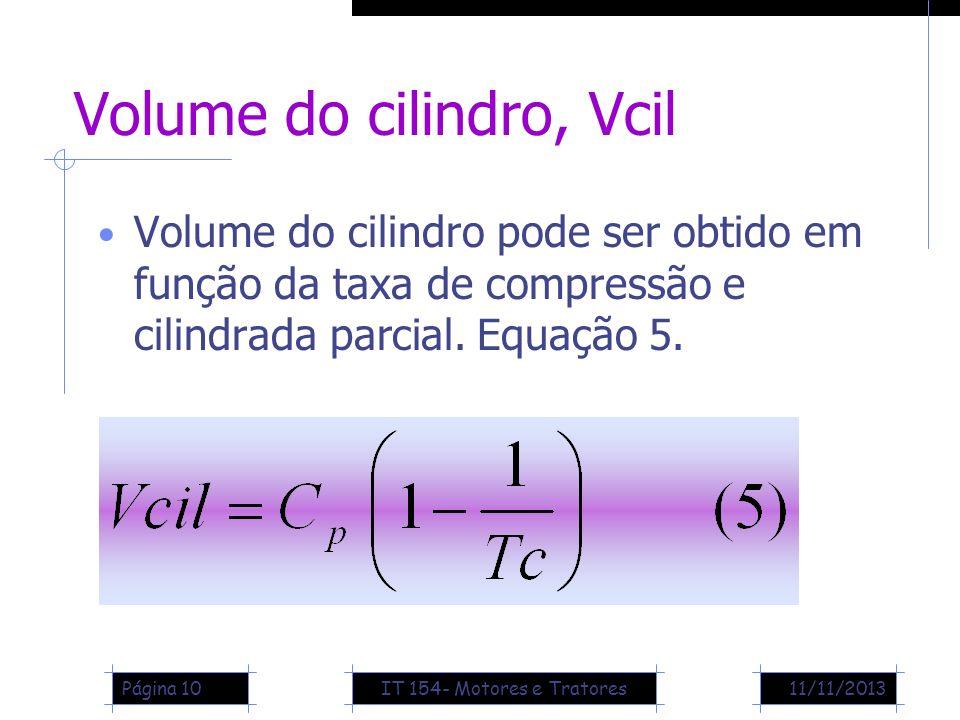 11/11/2013Página 10 Volume do cilindro, Vcil Volume do cilindro pode ser obtido em função da taxa de compressão e cilindrada parcial. Equação 5. IT 15