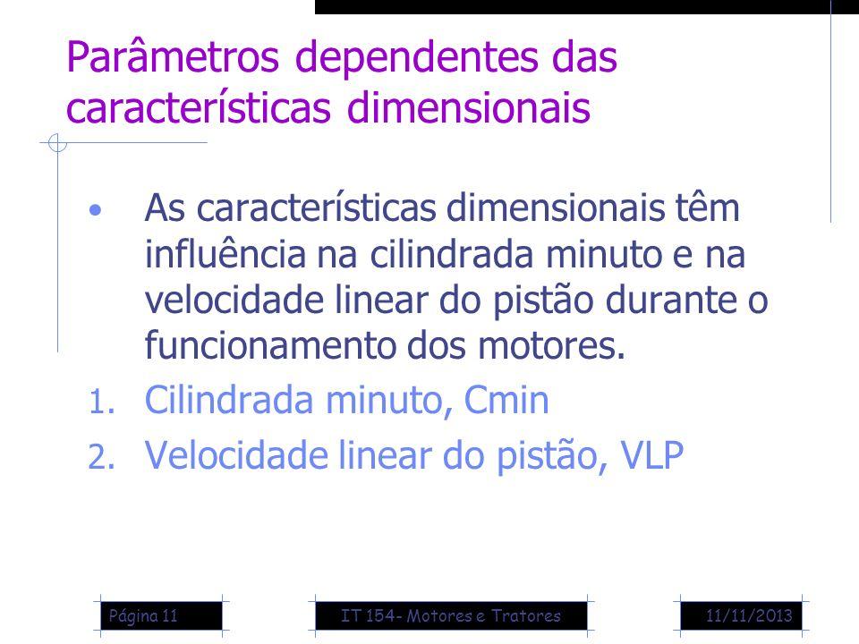 11/11/2013Página 11 Parâmetros dependentes das características dimensionais As características dimensionais têm influência na cilindrada minuto e na v