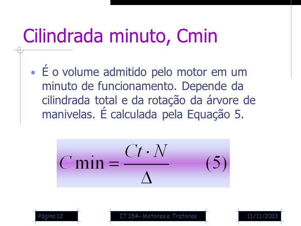 11/11/2013Página 12 Cilindrada minuto, Cmin É o volume admitido pelo motor em um minuto de funcionamento. Depende da cilindrada total e da rotação da