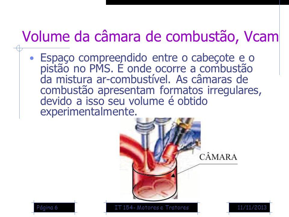11/11/2013Página 6 Volume da câmara de combustão, Vcam Espaço compreendido entre o cabeçote e o pistão no PMS. É onde ocorre a combustão da mistura ar