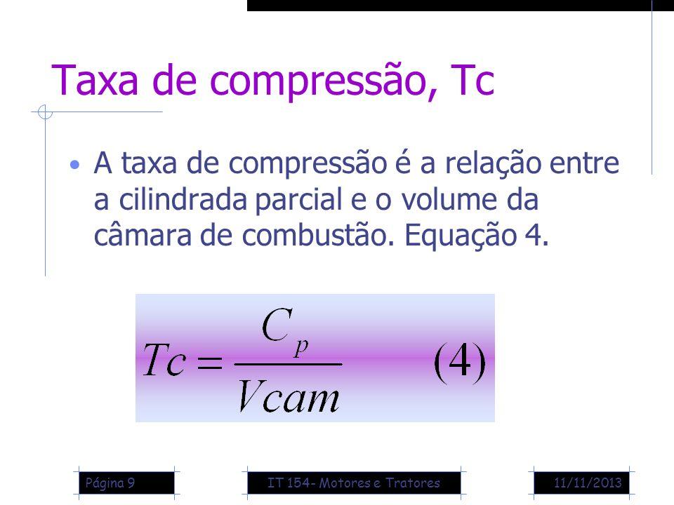 11/11/2013Página 9 Taxa de compressão, Tc A taxa de compressão é a relação entre a cilindrada parcial e o volume da câmara de combustão. Equação 4. IT