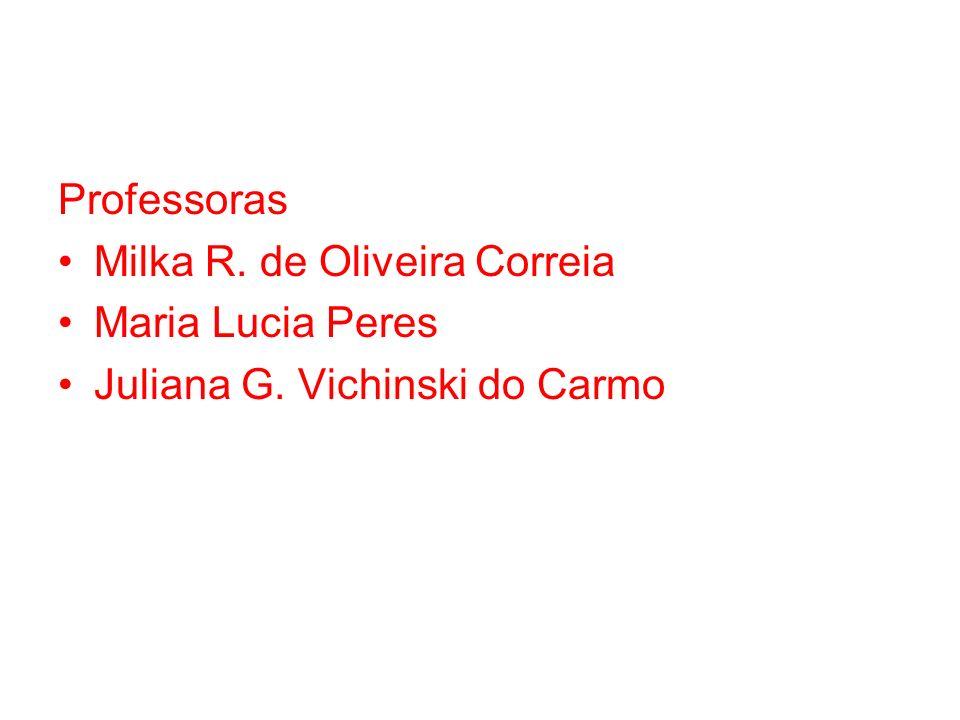 Professoras Milka R. de Oliveira Correia Maria Lucia Peres Juliana G. Vichinski do Carmo