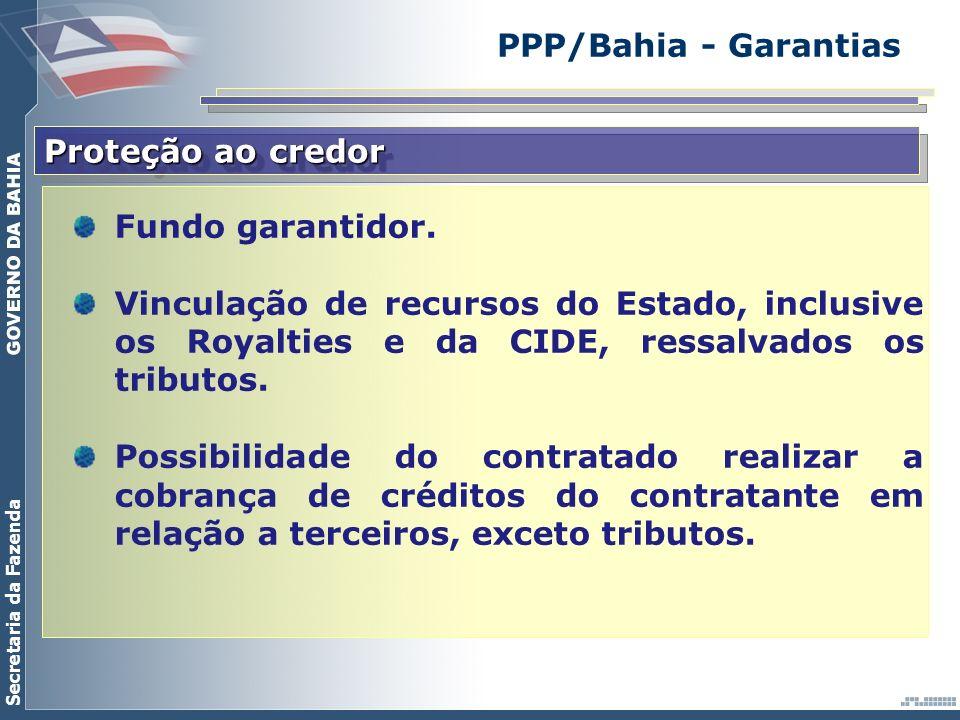 Secretaria da Fazenda Proteção ao credor Fundo garantidor. Vinculação de recursos do Estado, inclusive os Royalties e da CIDE, ressalvados os tributos