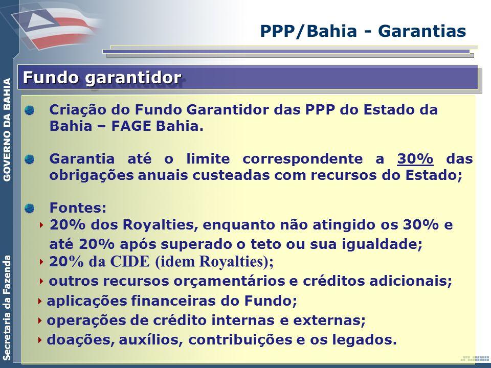 Secretaria da Fazenda PPP/Bahia - Garantias Fundo garantidor Criação do Fundo Garantidor das PPP do Estado da Bahia – FAGE Bahia. Garantia até o limit