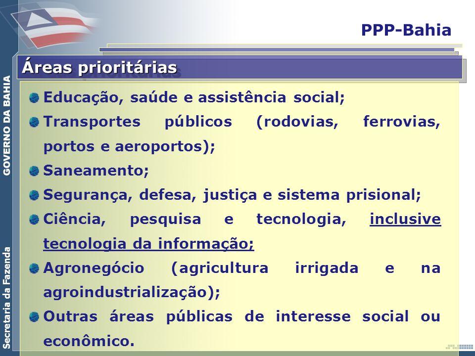 Secretaria da Fazenda PPP-Bahia Áreas prioritárias Educação, saúde e assistência social; Transportes públicos (rodovias, ferrovias, portos e aeroporto