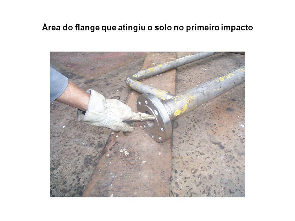Área do flange que atingiu o solo no primeiro impacto