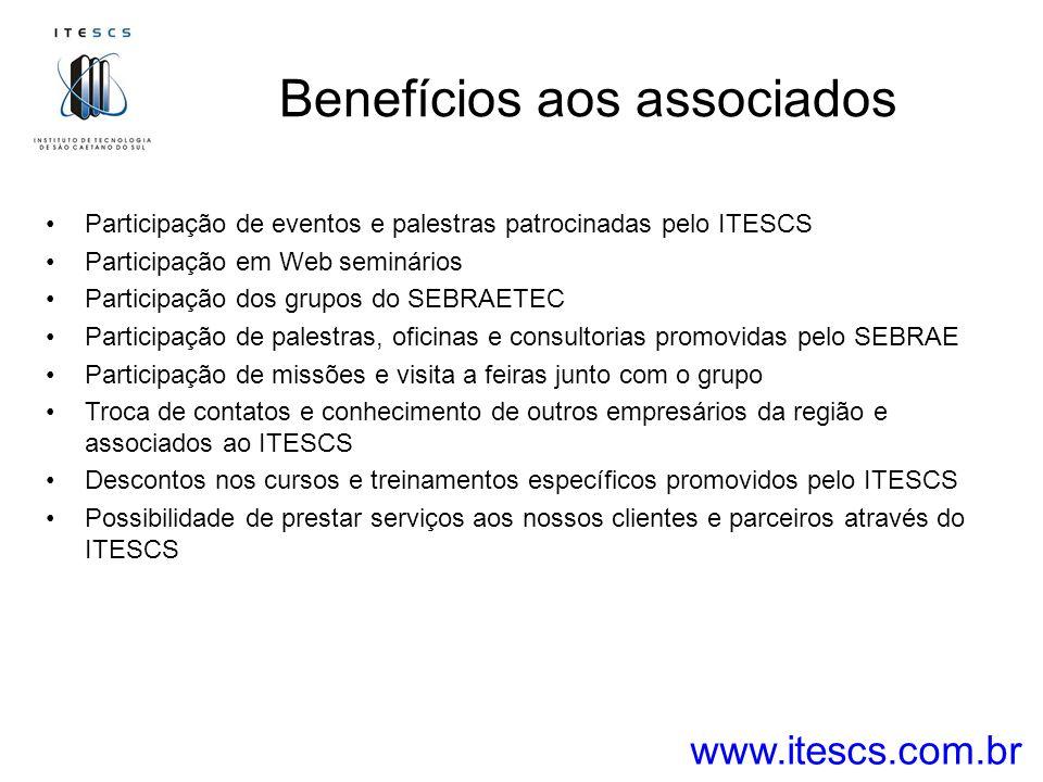 Benefícios aos associados www.itescs.com.br Participação de eventos e palestras patrocinadas pelo ITESCS Participação em Web seminários Participação dos grupos do SEBRAETEC Participação de palestras, oficinas e consultorias promovidas pelo SEBRAE Participação de missões e visita a feiras junto com o grupo Troca de contatos e conhecimento de outros empresários da região e associados ao ITESCS Descontos nos cursos e treinamentos específicos promovidos pelo ITESCS Possibilidade de prestar serviços aos nossos clientes e parceiros através do ITESCS