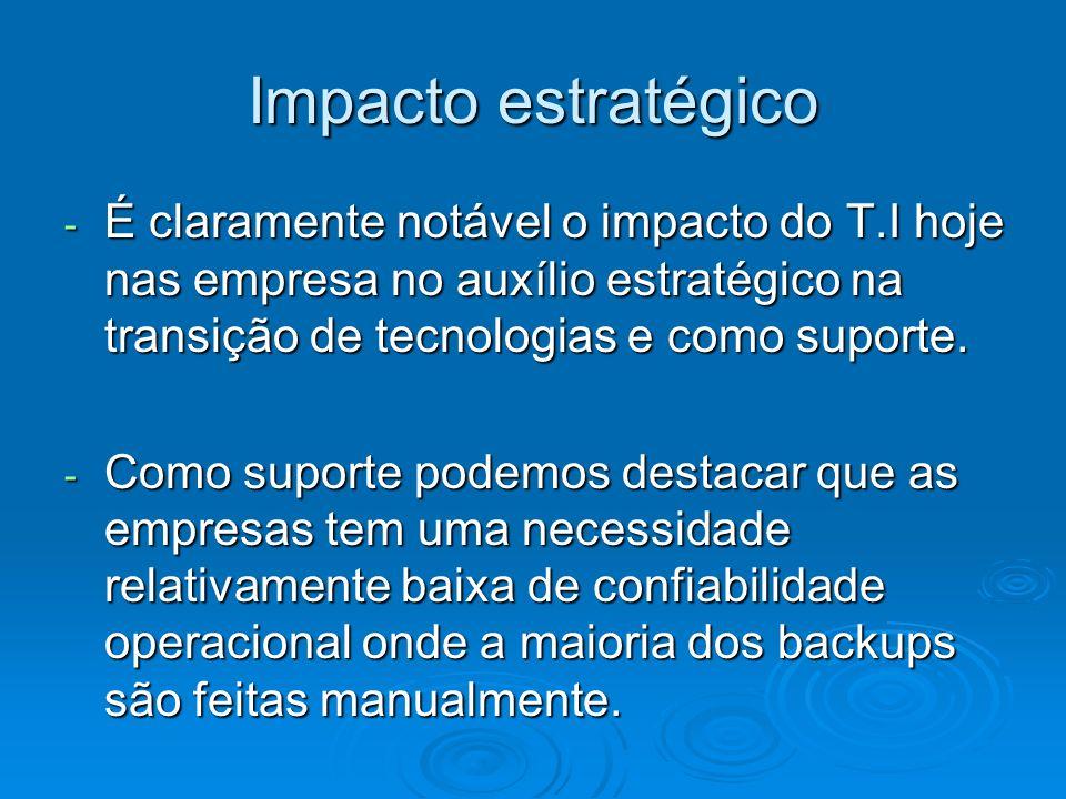 Impacto estratégico - É claramente notável o impacto do T.I hoje nas empresa no auxílio estratégico na transição de tecnologias e como suporte. - Como