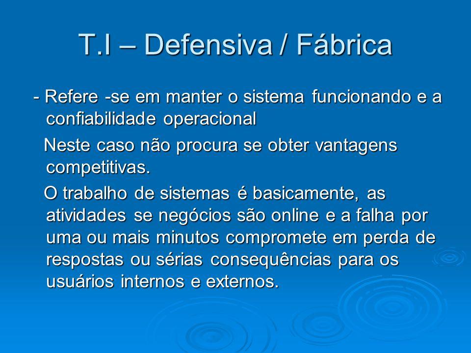 T.I – Defensiva / Fábrica - Refere -se em manter o sistema funcionando e a confiabilidade operacional - Refere -se em manter o sistema funcionando e a