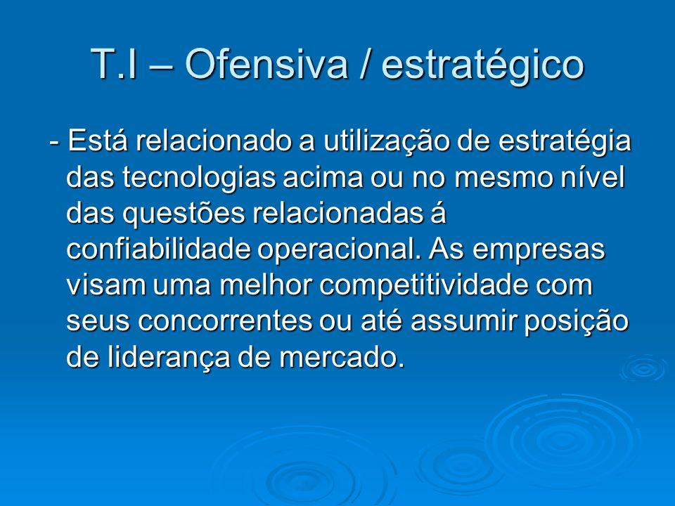 T.I – Ofensiva / estratégico - Alguns pontos relacionados: - Alguns pontos relacionados: A falha no sistema por um ou mais minutos implicam em perda imediata de negócio assim como trará sérias conseqüências aos usuários internos e externos.