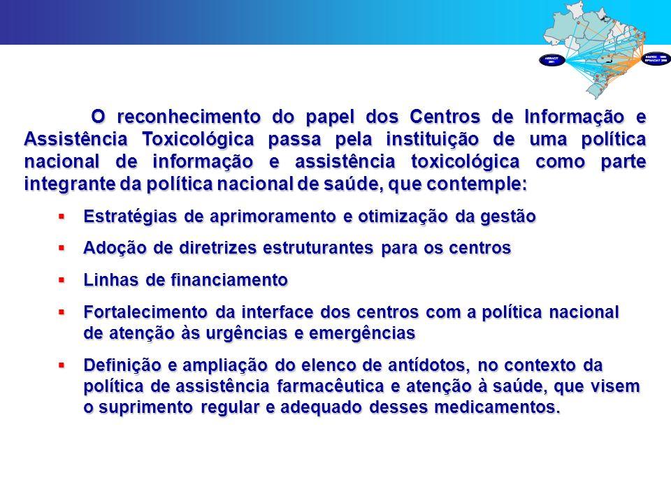 O reconhecimento do papel dos Centros de Informação e Assistência Toxicológica passa pela instituição de uma política nacional de informação e assistê