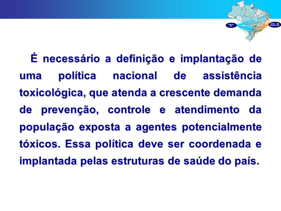 É necessário a definição e implantação de uma política nacional de assistência toxicológica, que atenda a crescente demanda de prevenção, controle e a