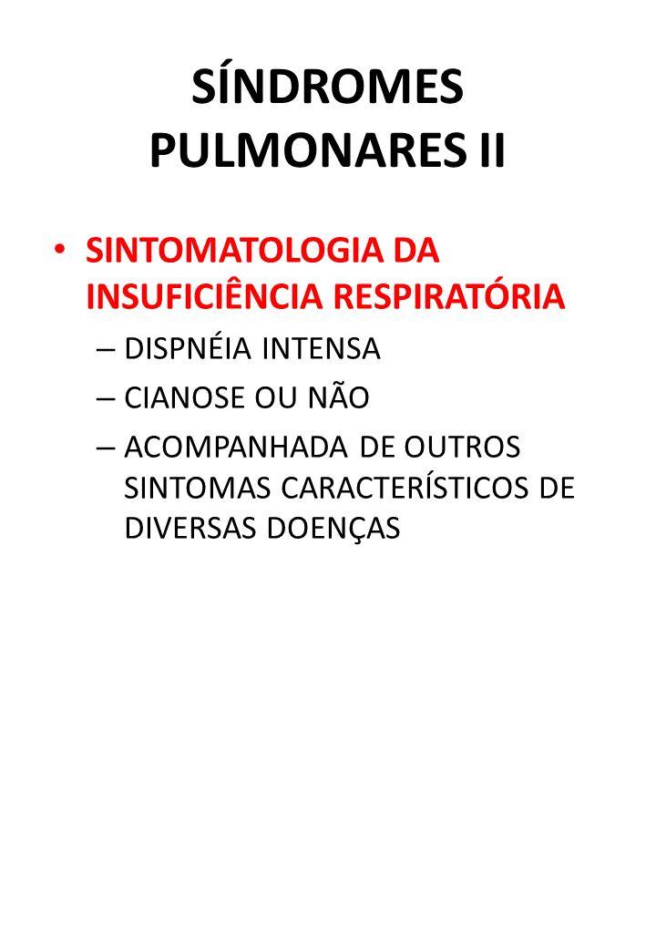 SÍNDROMES PULMONARES II SINTOMATOLOGIA DA INSUFICIÊNCIA RESPIRATÓRIA – DISPNÉIA INTENSA – CIANOSE OU NÃO – ACOMPANHADA DE OUTROS SINTOMAS CARACTERÍSTI