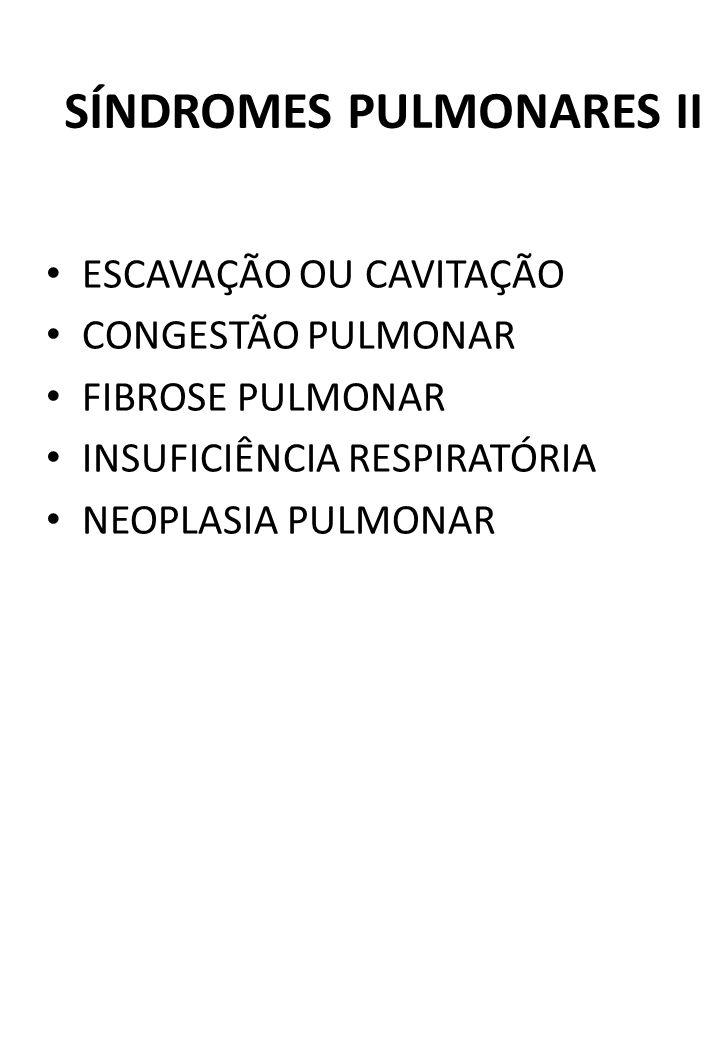 SÍNDROMES PULMONARES II ESCAVAÇÃO OU CAVITAÇÃO CONGESTÃO PULMONAR FIBROSE PULMONAR INSUFICIÊNCIA RESPIRATÓRIA NEOPLASIA PULMONAR