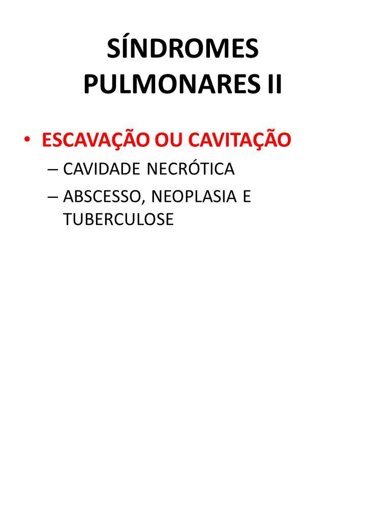 SÍNDROMES PULMONARES II ESCAVAÇÃO OU CAVITAÇÃO – CAVIDADE NECRÓTICA – ABSCESSO, NEOPLASIA E TUBERCULOSE